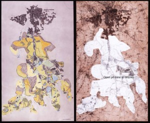 Left: Leipzig looking at an existing map of land use on the turned earth landscape an image of extreme fragmentation emerges with open mines in brown filled areas in ocre all greens meaning vegetation while bright yellow marks land that has been optioned for mining.  Right: The map of South Leipzig is clarified as a much larger domain when the 160 sq km shape of the earth turned over from mining is mapped. With the open pit mines at Witznitz as exemplar while the shape of the whole takes on an iconic property.