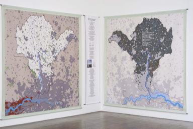 Installation view of Lea Valley, On the Upward Movement of People. Where the text expresses the carbon sequestered when the Lea Valley Watershed is reforested. Ronald Feldman, 2009